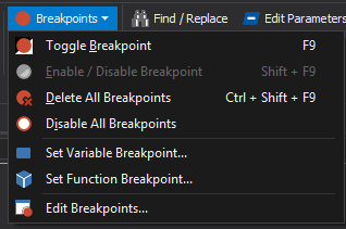 breakpoint menu